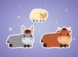 epifania di gesù con gli animali vettore