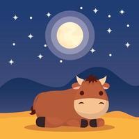 epifania di gesù con simpatica mucca vettore