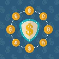 criptovaluta e disegno di icone di finanza dollaro vettore