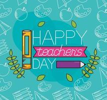 disegno di celebrazione del giorno dell'insegnante felice vettore