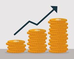 denaro monete crescita con freccia, design piatto del concetto di finanza vettore