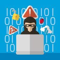 tecnologia design piatto di sicurezza internet