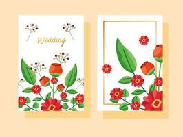 salva la data set di carte di nozze floreali vettore