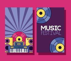 simpatico poster del festival musicale con icone pop