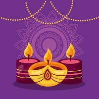 felice diwali festival poster design piatto