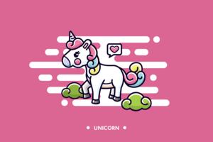 vettore di cartone animato unicorno