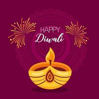 felice diwali festival poster design piatto vettore