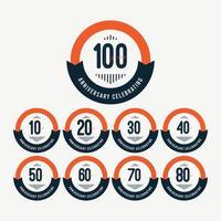 Illustrazione di progettazione del modello di vettore arancione retrò celebrazioni 100 ° anniversario