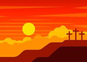 scena del calvario con croce di Gesù vettore
