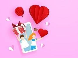 coppia di innamorati dando confezione regalo e cuore rosso dal telefono cellulare vettore