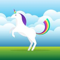 Vettore bianco dell'unicorno con la criniera e corno sull'illustrazione del fondo