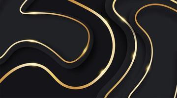 vettore di onda astratta linee fluide e oro lucido su sfondo blu scuro