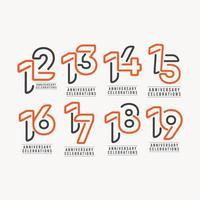 numeri dell'anno dell'anniversario, set a colori
