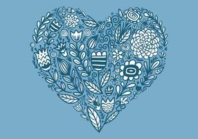a forma di cuore floreale vettore