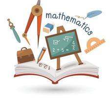 libro aperto e icone della matematica. concetto di educazione vettore