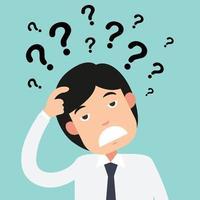 pensiero aziendale con punti interrogativi vettore