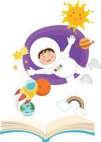 astronauta libro aperto nel concetto di spazio di educazione vettore