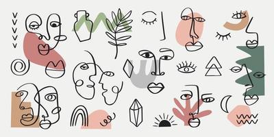 ritratto di donna tribale astratto impostato in arte linea continua. elementi contemporanei di moda con volti femminili etnici, foglie, fiori, forme in stile moderno di pittura a inchiostro. concetto estetico minimalista vettore
