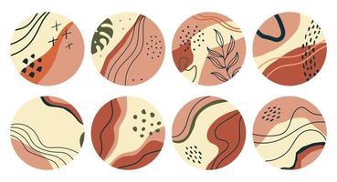 insieme di varie forme geometriche con foglie evidenziano copertine vettore