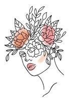 ritratto di donna di linea continua con forme ad acquerello in colori pastello vettore