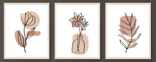 set di fiori linea arte continua con forma astratta