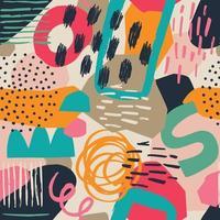 varie forme disegnate a mano e foglie, macchie, punti e linee. colori differenti. modello senza cuciture contemporaneo astratto. moderna illustrazione patchwork in vettoriale
