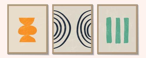 insieme contemporaneo alla moda di composizione dipinta a mano artistica minimalista geometrica creativa astratta. poster vettoriali per decorazioni murali in stile vintage