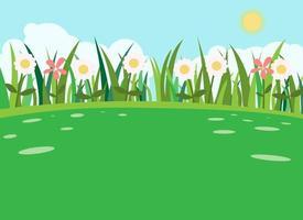 erba verde con sfondo di fiori e cielo. natura paesaggio erba sulla verde collina. scena naturale estiva. floreale in primavera. vettore