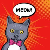 Illustrazione di Cat Pop Art Portrait vettore