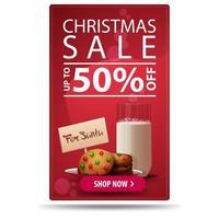 saldi natalizi, fino a 50, banner sconto rosso verticale con bottone e biscotti con un bicchiere di latte per babbo natale vettore