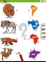 unisciti a animali e continenti gioco educativo per bambini vettore