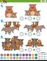 compito educativo aggiunta di matematica con animali selvatici vettore