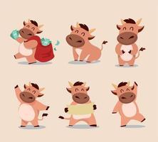 simpatico set di caratteri del toro.