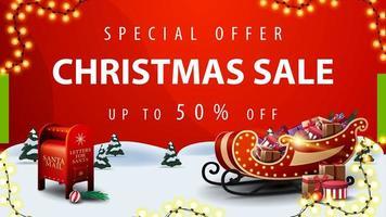 offerta speciale, saldi natalizi, fino a 50 di sconto, banner sconto rosso con paesaggio invernale dei cartoni animati, cassetta delle lettere di Babbo Natale e slitta di Babbo Natale con regali vettore