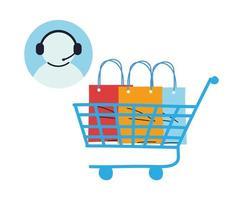 negozio virtuale con illustrazione vettoriale call center