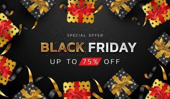 sfondo nero venerdì o banner di vendita di promozione di offerta speciale per poster di affari e pubblicità