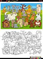 cartone animato divertente cani e gatti gruppo pagina del libro da colorare vettore
