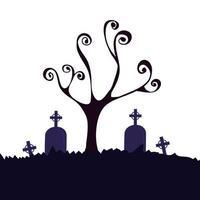 albero secco di Halloween con tombe nel cimitero