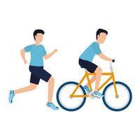 uomini isolati con disegno vettoriale di bici