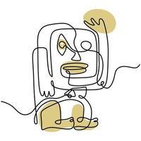 faccia tribale astratta continua un disegno a tratteggio, buono per elemento poster, stile minimalista. vettore