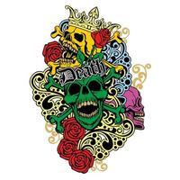 colorato, vintage grunge teschio vettore