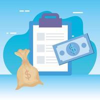 lista di controllo appunti con borsa di denaro vettore