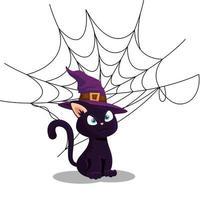 gatto di halloween con cappello da strega e ragnatela vettore