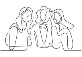 disegno a tratteggio continuo della donna. in piedi con fiducia. vettore
