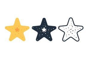 set di icone carino stelle marine vettore