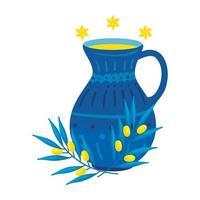 teiera di ceramica decorativa con stelle david vettore