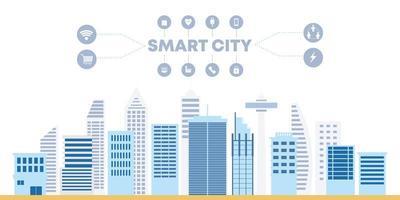 vettore piatto smart city, edifici e rete di comunicazione scrapper città.