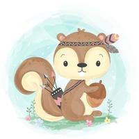 adorabile illustrazione scoiattolo tribale in stile acquerello