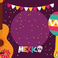 maraca messicana e disegno vettoriale chitarra