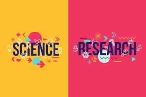 design di banner concetto di parola di scienza e ricerca vettore